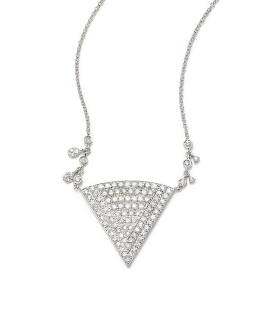 Meira T | Metallic Pave Diamond & 14k White Gold Triangle Pendant Necklace | Lyst