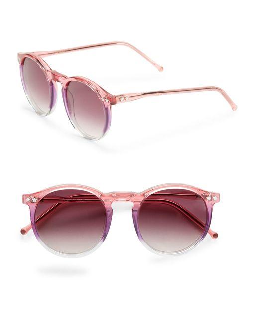 Wildfox | Pink Steff, 50mm, Round Sunglasses | Lyst
