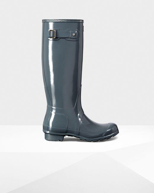 Hunter   Blue Women's Original Tall Gloss Rain Boots   Lyst