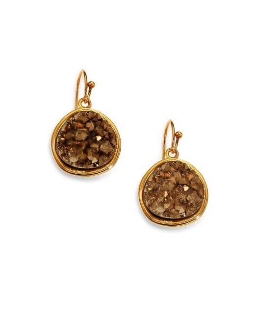 Nest | Metallic Pyrite Druzy Round Drop Earrings | Lyst