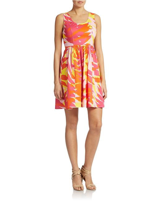 Plenty by Tracy Reese | Pink Sleeveless Fit And Flare Print Dress | Lyst