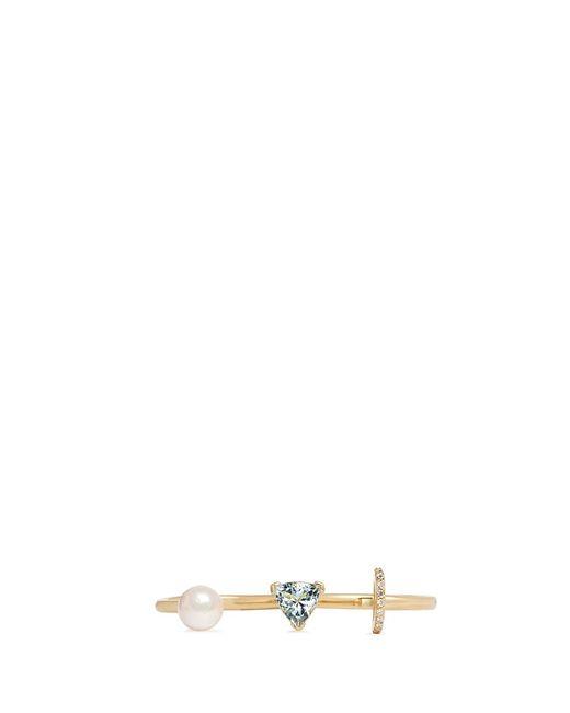 Phyne By Paige Novick | Blue 'marta' 18k Gold Diamond Pav Pearl Aquamarine Two Finger Ring | Lyst