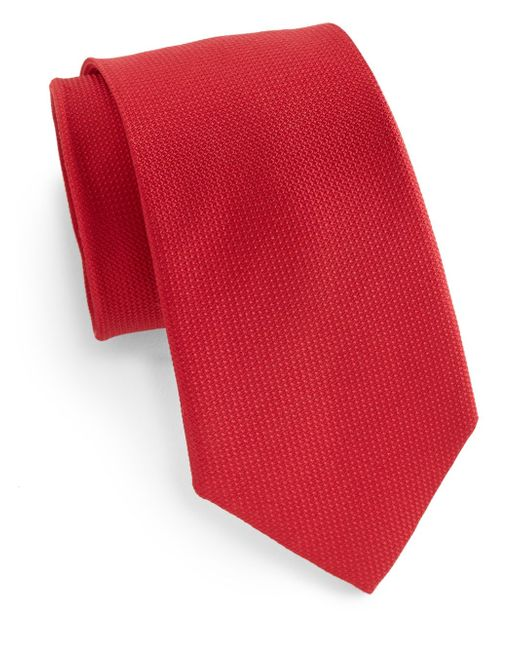 Saks Fifth Avenue | Red Boxed Silk Tie for Men | Lyst
