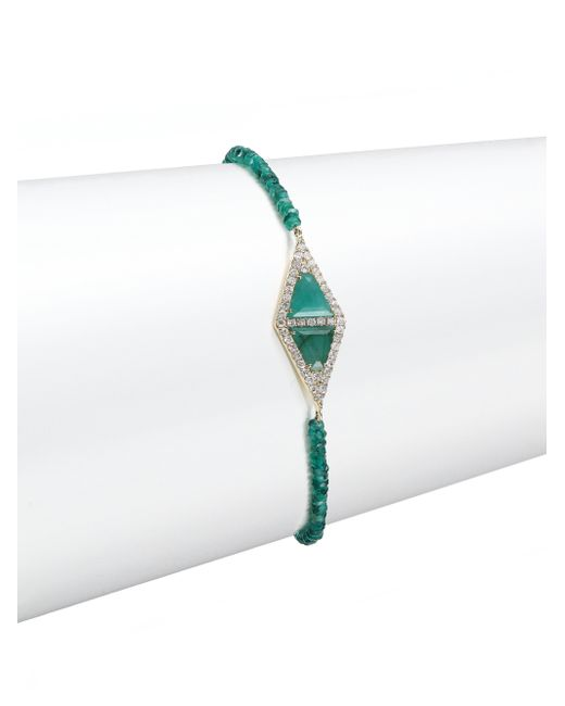 Meira T | Metallic Diamond, Emerald & 14k Yellow Gold Bracelet | Lyst