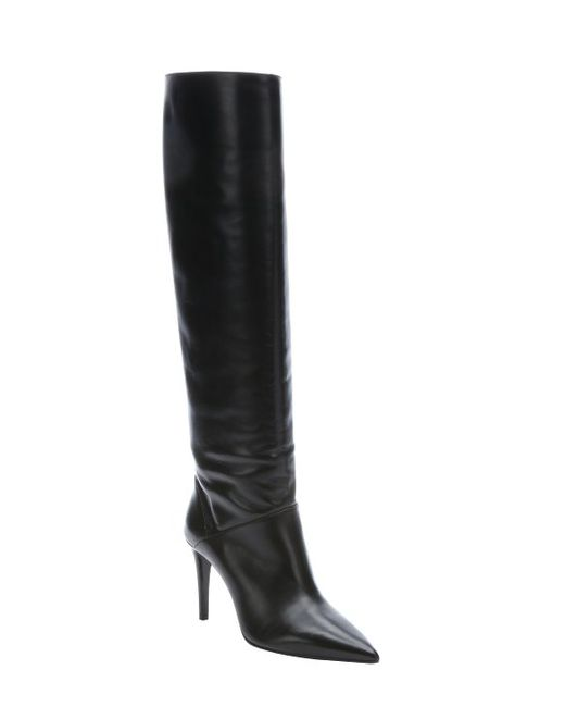 prada black leather partial zip knee high stiletto boots