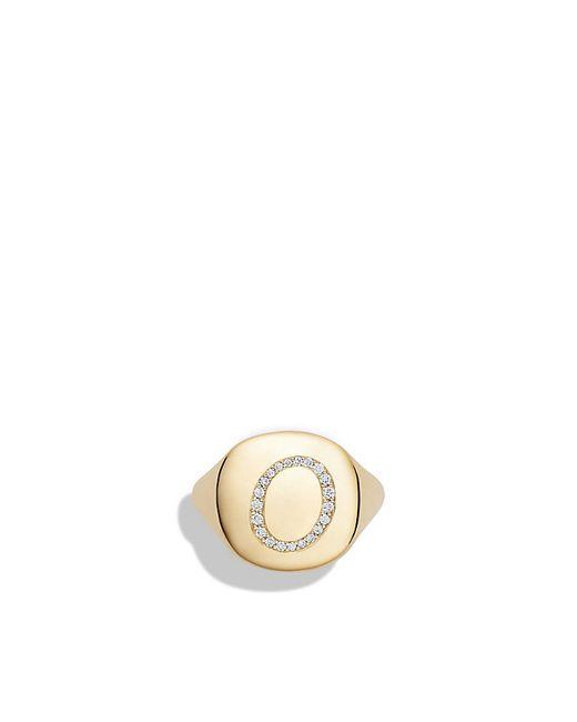 David Yurman | Metallic Dy Initial Pinky Ring With Diamonds In 18k Gold | Lyst
