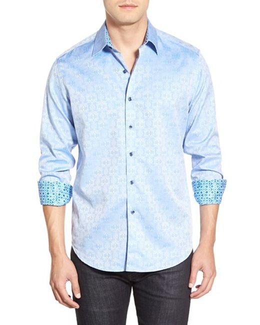 Robert Graham | Blue 'cullen' Classic Fit Jacquard Sport Shirt for Men | Lyst