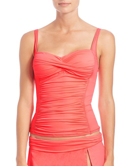 La Blanca | Pink Core Shirred Tankini Top | Lyst