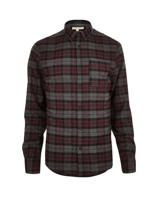 River island red check flannel shirt in red for men save for Places to buy flannel shirts