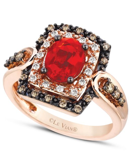 Le Vian | Brown Fire Opal (5/8 Ct.) Chocolate And White Diamond (1/3 Ct. T.w.) Ring In 14k Rose Gold | Lyst