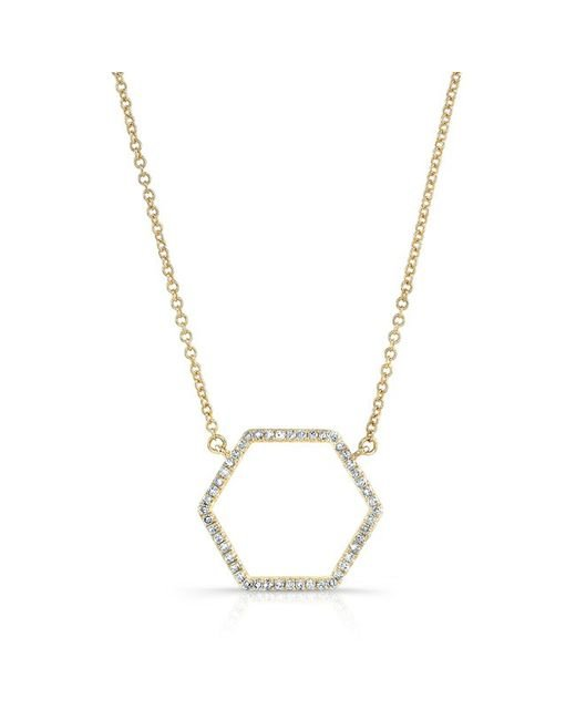 Anne Sisteron | Metallic 14kt Yellow Gold Diamond Hexagon Shaped Necklace | Lyst