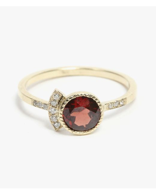 Jennie Kwon | Red Round Garnet Deco Ring | Lyst