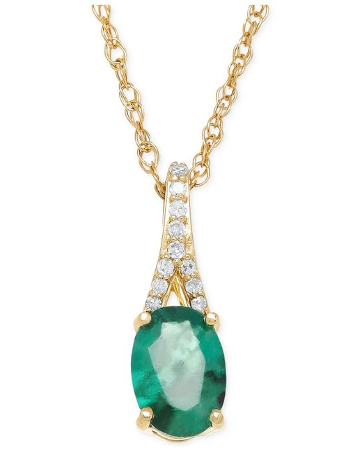 Macy's | Green Emerald (7/8 Ct. T.w.) And Diamond Accent Pendant Necklace In 10k Gold | Lyst