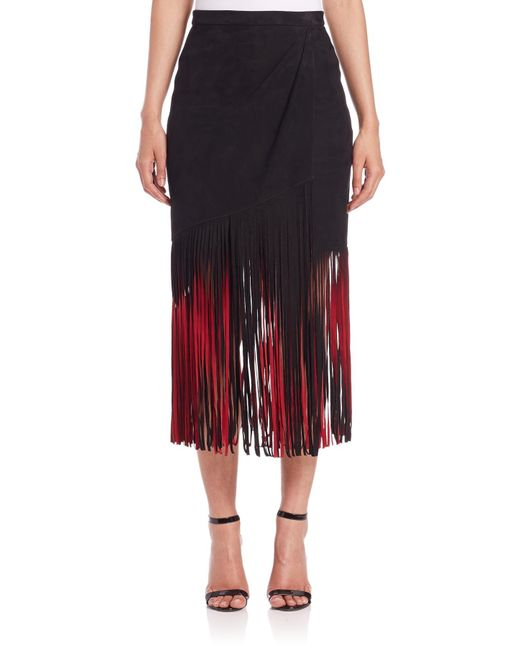 Tamara Mellon | Red Signature Suede Fringe Skirt | Lyst