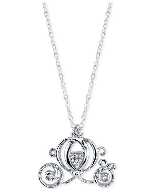 Disney | Metallic Diamond Accent Cinderella Pendant Necklace In Sterling Silver | Lyst