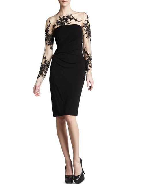 David Meister | Black Long-sleeve Embroidered Jersey Dress | Lyst