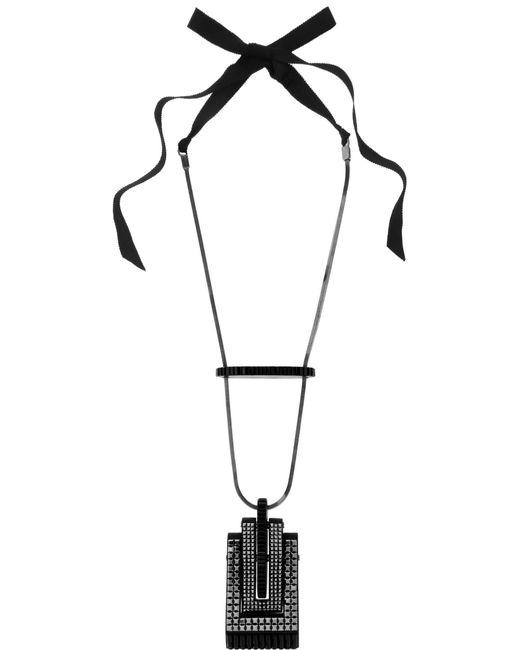 Lanvin | Pewter-plated Blackened Swarovski Crystal Necklace | Lyst