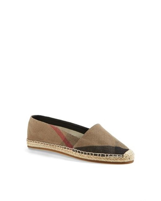 Burberry | Brown 'hodgeson' Check Print Espadrille Flat | Lyst