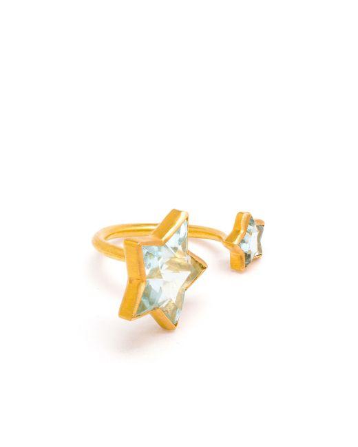 Marie-hélène De Taillac | Blue 22k Yellow Gold Aquamarine Double Star Ring | Lyst