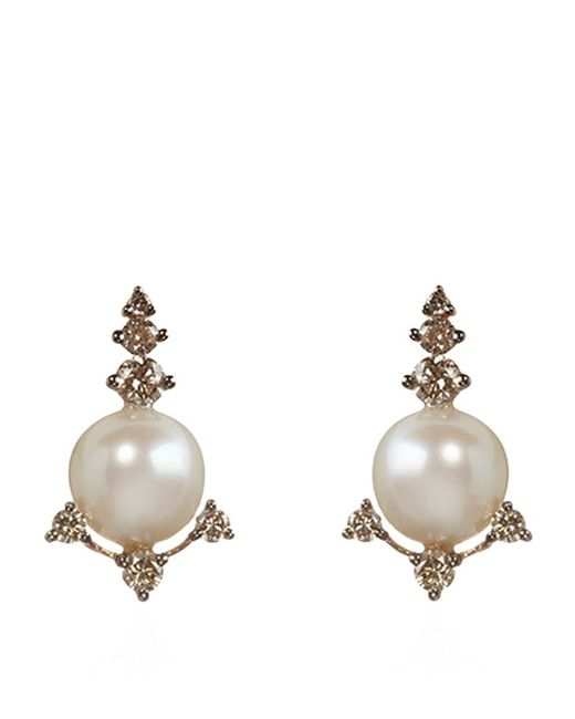 Annoushka | Metallic Diamonds And Pearls Stud Earrings | Lyst