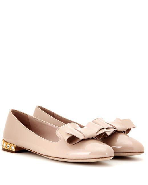 Miu Miu   Beige Embellished Patent-Leather Ballet Flats   Lyst