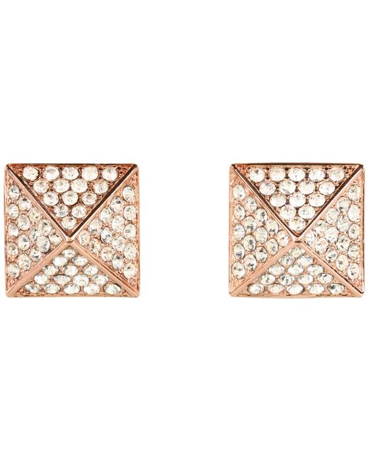 Vince Camuto | Pink Rose Gold Pave Pyramid Studs | Lyst
