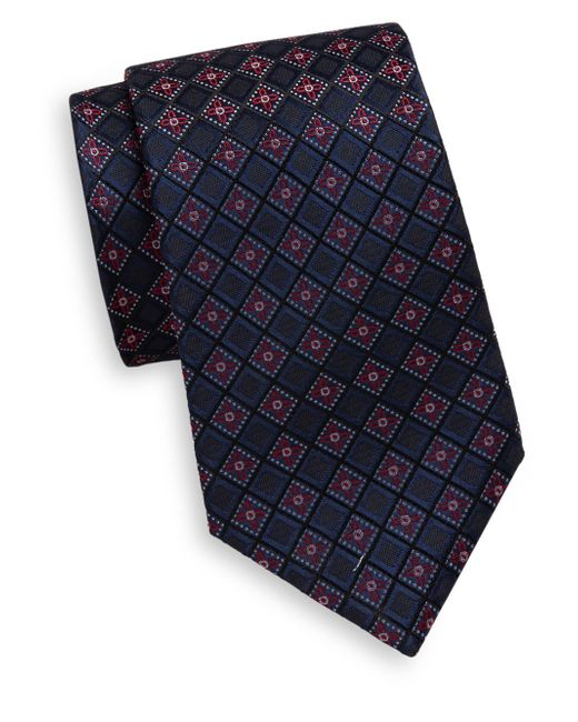 Saks Fifth Avenue | Blue Floral Diamond Pattern Silk Tie for Men | Lyst