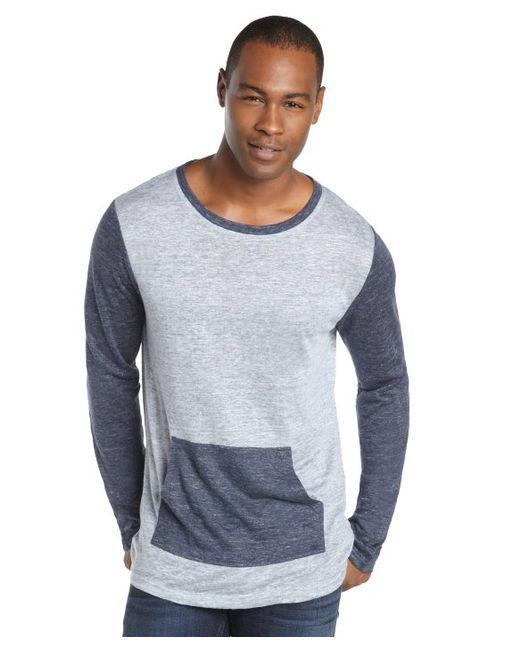 Matiere navy and light blue colorblock linen pouch pocket for Mens light blue linen shirt