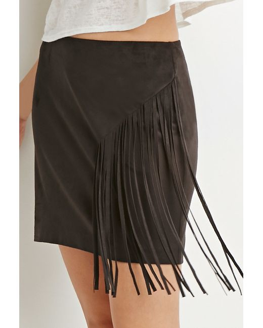 Forever 21 | Black Contemporary Fringed Faux Suede Skirt | Lyst
