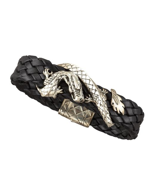 John hardy woven leather dragon bracelet in black for men for John hardy jewelry factory bali