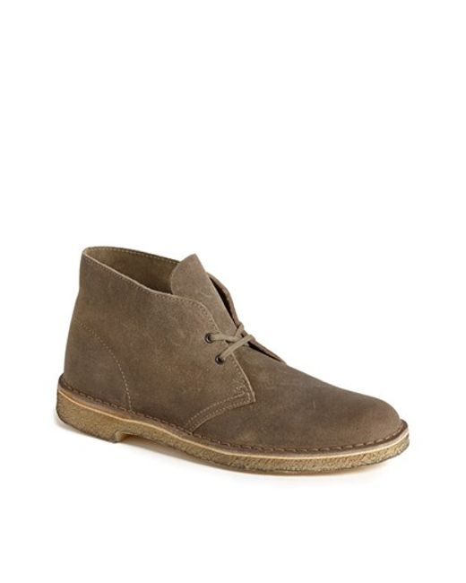 clarks desert boot in brown for men taupe distressed