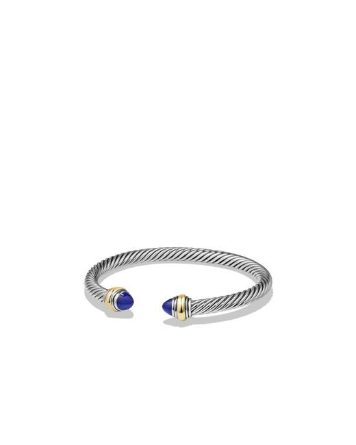 David Yurman | Metallic Cable Classic Bracelet With Blue Topaz And 14k Gold, 5mm | Lyst