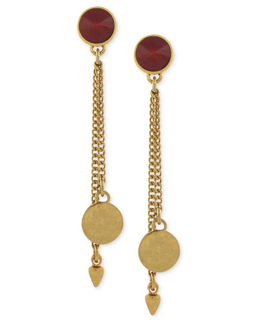 Vince Camuto | Metallic Gold-tone Stone And Chain Drop Earrings | Lyst