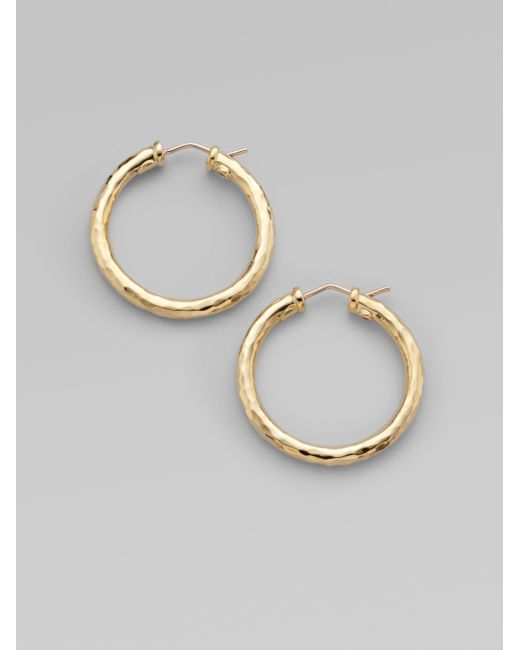 Roberto Coin | Metallic Martellato 18k Yellow Gold Hoop Earrings/1.25 | Lyst