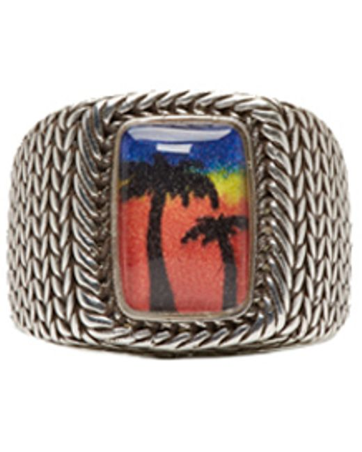 laurent silver palm tree ring in silver lyst