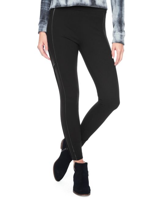 Splendid | Black Mixed Media Leggings | Lyst