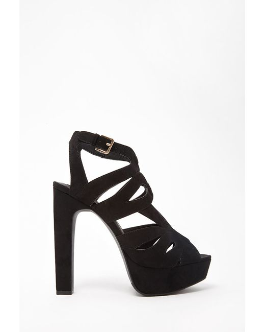 Forever 21 | Black Caged Faux Suede Sandals | Lyst