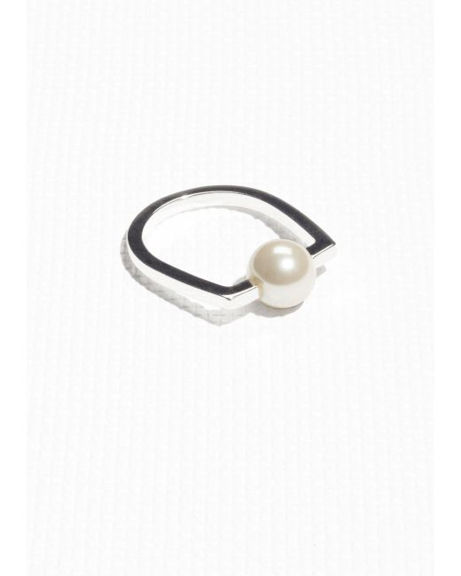 & Other Stories | Black Angular Pearl Bead Ring | Lyst