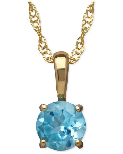 Macy's | Blue Aquamarine Round Pendant Necklace In 14k Gold (1/2 Ct. T.w.) | Lyst