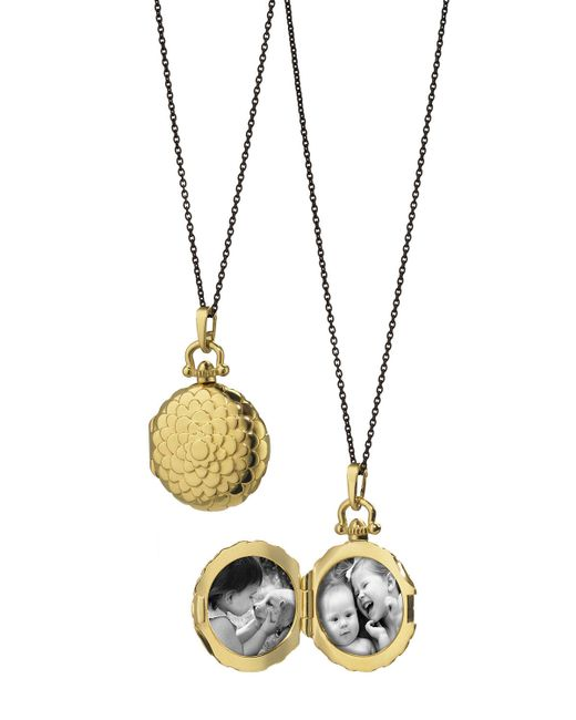 Monica Rich Kosann | Metallic 18k Petite Scallop Locket Necklace | Lyst