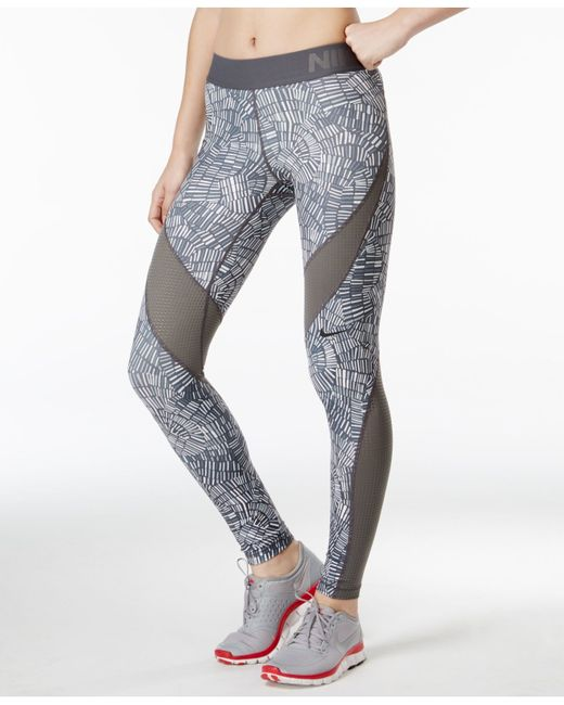 Nike Pro Hypercool Dri-fit Tidal Printed Leggings in Gray (Dark Grey/White) | Lyst