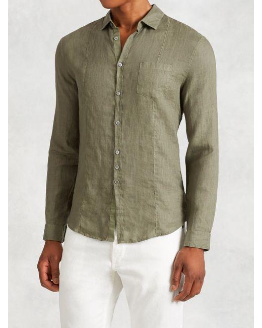 john varvatos linen shirt in green for men lichen green