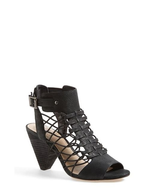 Vince Camuto | Black 'evel' Leather Sandal | Lyst