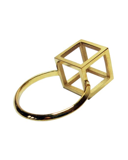 Stephanie Bates | Metallic Gold Cube Detail Ring | Lyst