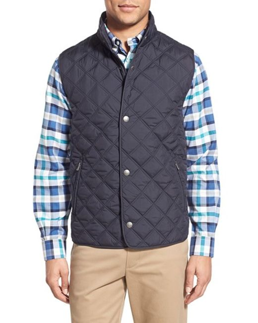 Brooks Brothers Diamond Quilted Vest In Blue For Men Navy