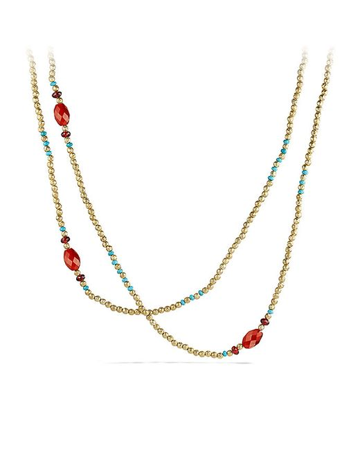David Yurman | Metallic Bead Necklace With Turquoise And Carnelian In 18k Gold | Lyst