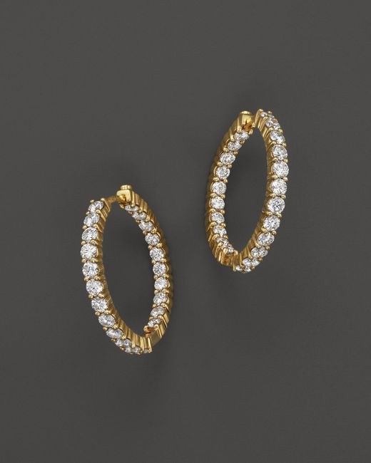 Roberto Coin | Metallic 18k Yellow Gold Diamond Inside Out Hoop Earrings | Lyst