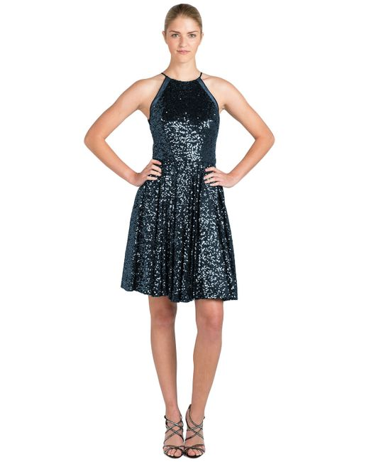 Badgley Mischka | Blue Halter Sequin Cocktail Dress | Lyst
