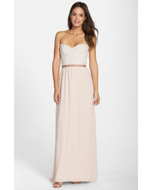 Paper Crown | Metallic By Lauren Conrad 'hannah' Lace Bodice Crepe Gown | Lyst