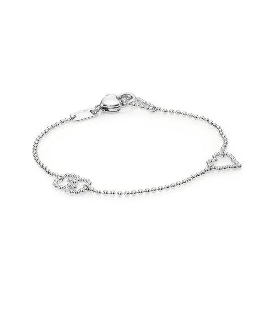 Gucci | Metallic Boule Heart & Interlocking G Sterling Silver Bracelet | Lyst
